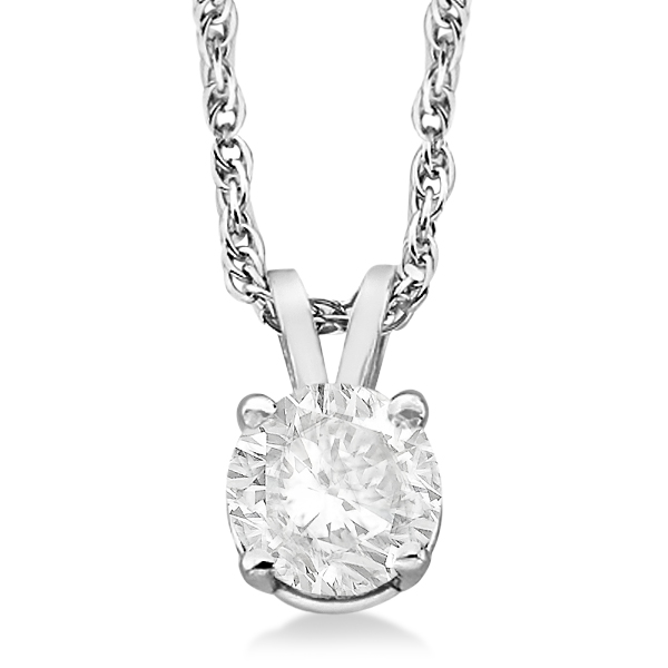 Prong Set Moissanite Solitaire Pendant Necklace 14K White Gold 1.00ct