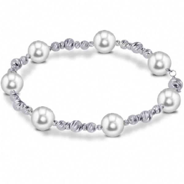 Cultured Freshwater Pearl & Sterling Silver Bead Bracelet 8.5-9mm