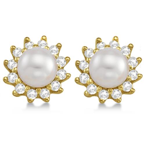 Akoya Cultured Pearl and Diamond Halo Earrings 14K Yellow Gold (6mm)