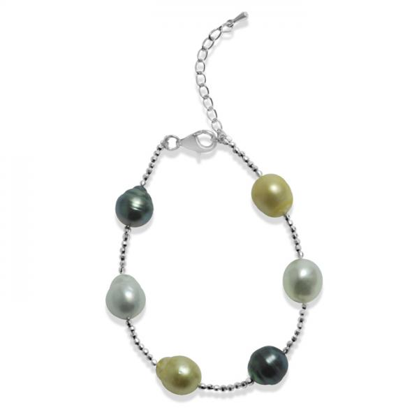 Link Bracelet with South Sea & Tahitian Pearls Sterling Silver 9-11mm