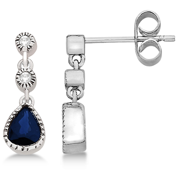 Vintage Drop Diamond and Blue Sapphire Earrings 14k White Gold (0.89ct)