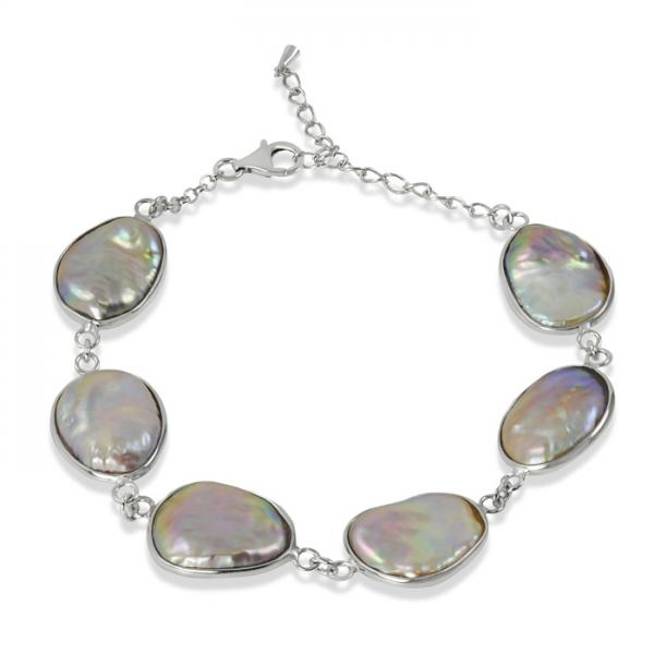 Baroque Shaped Freshwater Pearl Link Bracelet Sterling Silver 13-18mm