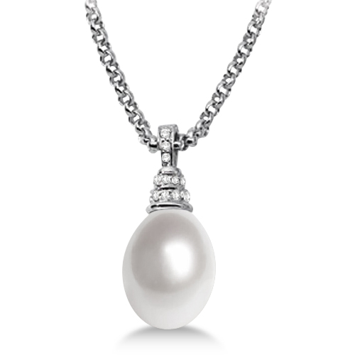 Paspaley South Sea White Pearl & Diamond Pendant in 18K Palladium 13mm