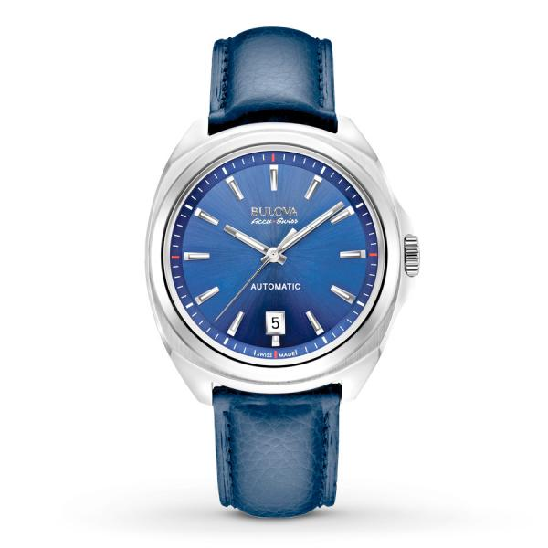 Men's Bulova Watch Automatic AccuSwiss with Blue Dial & Leather Strap
