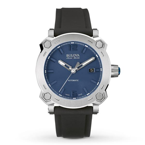 Men's Bulova Watch Stainless Steel AccuSwiss Automatic w/ Blue Dial