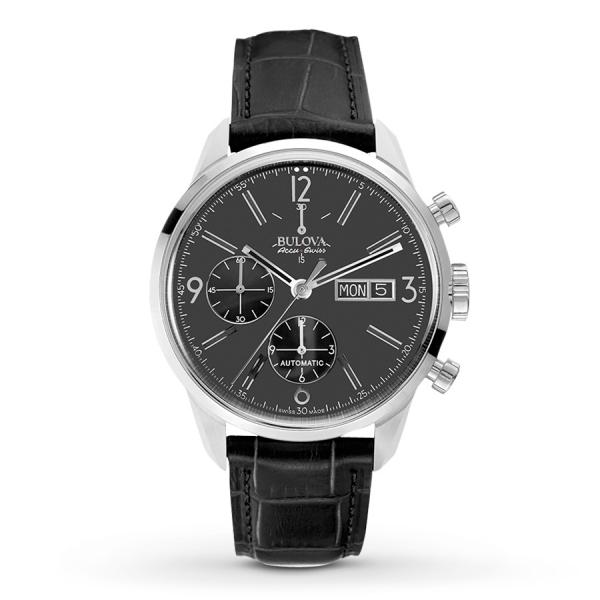Men's Bulova Watch AccuSwiss Chronograph with Black Leather Strap