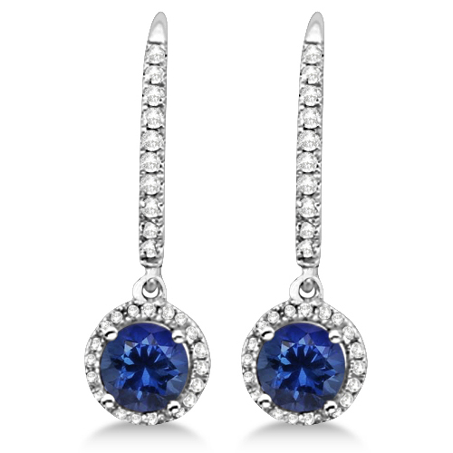 Dangle Diamond and Round Tanzanite Earrings 14k White Gold (2.14ct)