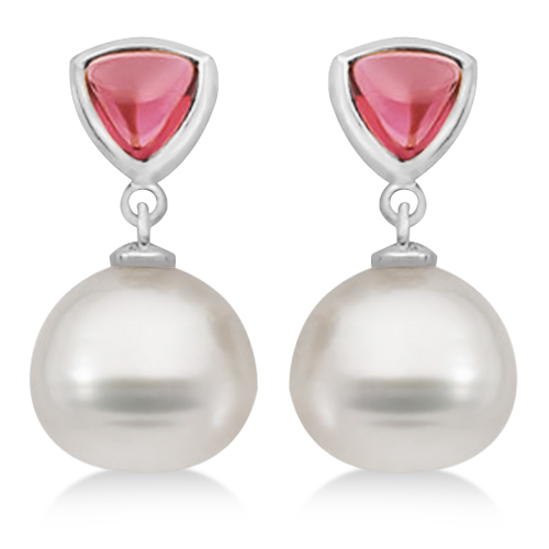 Rhodolite Garnet & South Sea Pearl Drop Earrings 14K White Gold 11mm