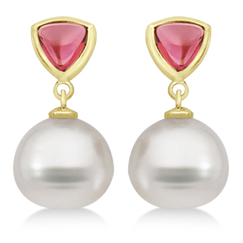 Rhodolite Garnet & South Sea Pearl Drop Earrings 14K Yellow Gold 11mm