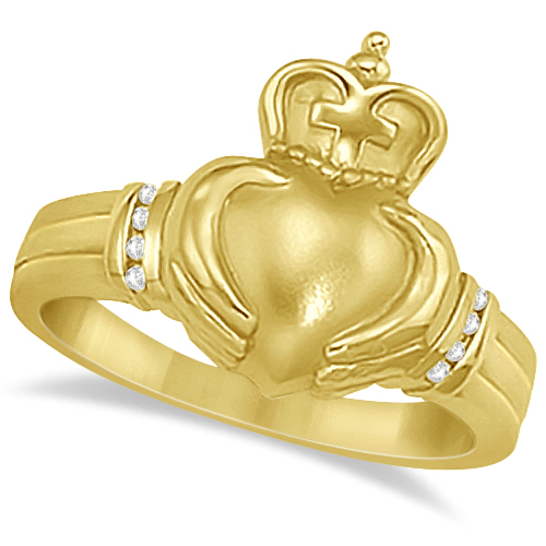 Diamond Claddagh Ring with Cross Irish Band 14K Yellow Gold  (0.05ct)