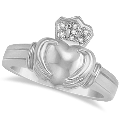 Diamond Heart Friendship Claddagh Ring 14K White Gold (0.05ct)