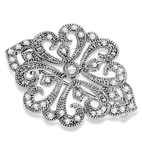 Heirloom Brooch Diamond Pin Antique Style 14K White Gold (0.25ctw)