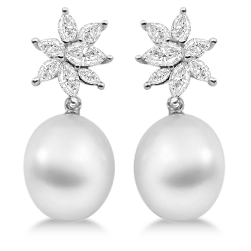 Diamond And Paspaley South Sea Pearl Earrings 18k Palladium 12mm