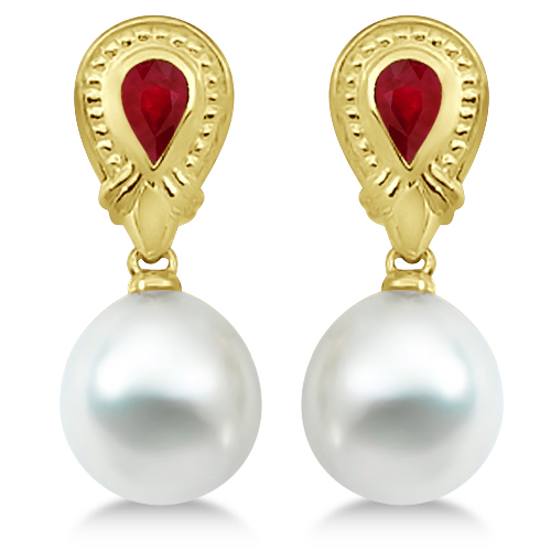 Paspaley South Sea Cultured Pearl & Ruby Earrings 18K Yellow Gold 11mm