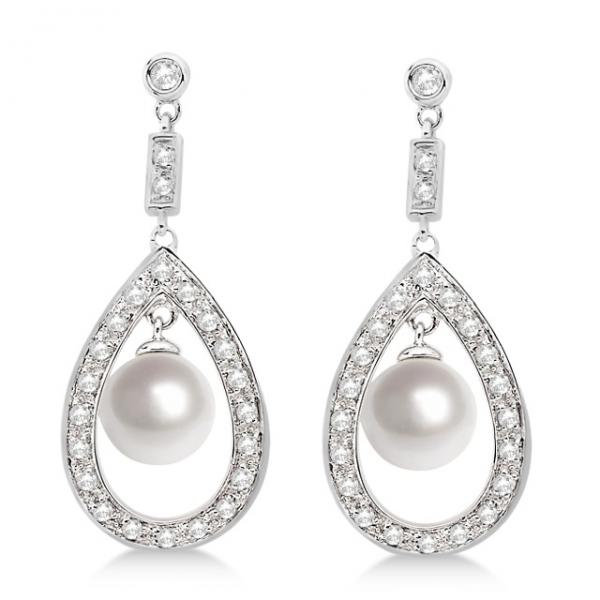 Freshwater Cultured Pearl & Diamond Teardrop Earrings 14K White Gold