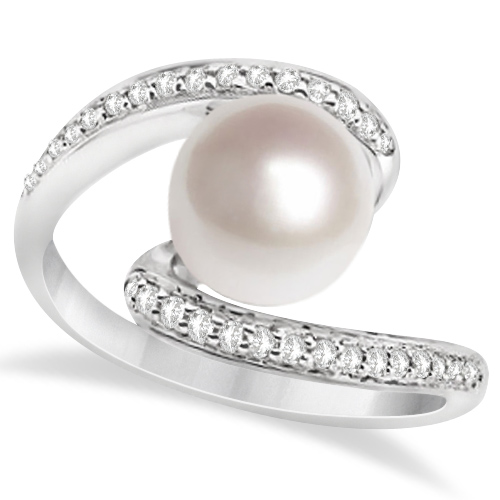 Bypass Freshwater Cultured Pearl & Diamond Ring 14K W. Gold (8mm)