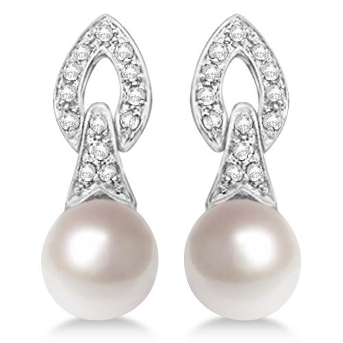 Cultured Freshwater Pearl & Diamond Drop Earrings 14K White Gold (7mm)