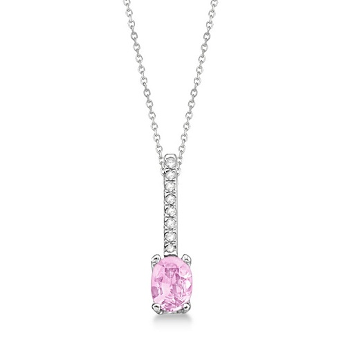 Diamond and Pink Sapphire Necklace 14k White Gold (1.10ct)