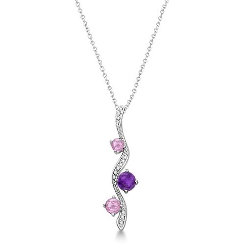 Diamond & Multi Stone Necklace 14k White Gold (1.58ct)