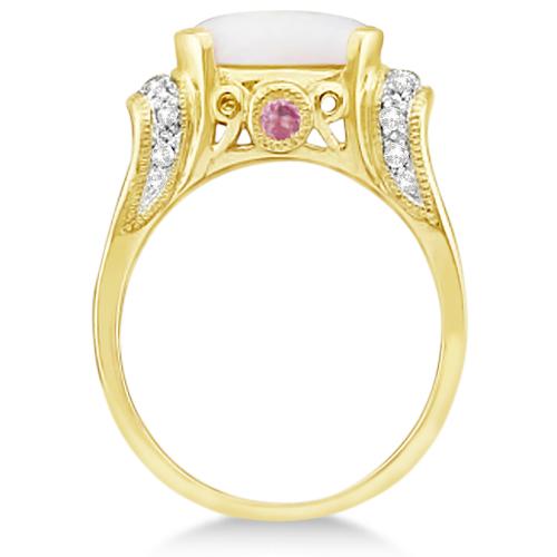 Pink Tourmaline, Diamond and Opal Ring 14k Yellow Gold (2.06ct)