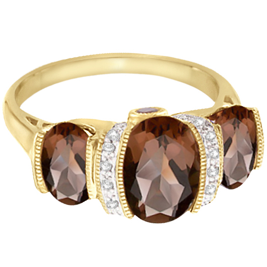 Three Stone Diamond and Smoky Quartz Ring 14kt Yellow Gold (3.20ct)