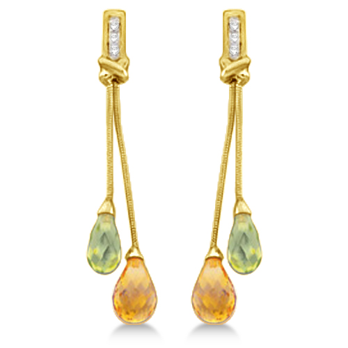 Dangle Diamond and Multi Stone Earrings 14k Yellow Gold (4.18ct)