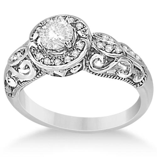 vintage moissanite engagement ring 14k white