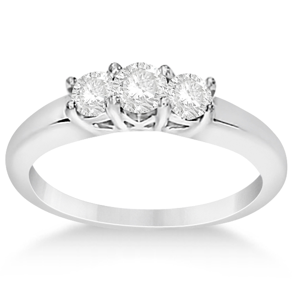 Three Stone Moissanite Engagement Ring 14K White Gold 0.50ctw