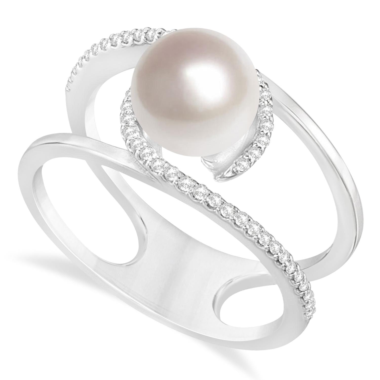 Negative Space Freshwater Pearl & Diamond Ring 14k White Gold (7.5-8.0mm)