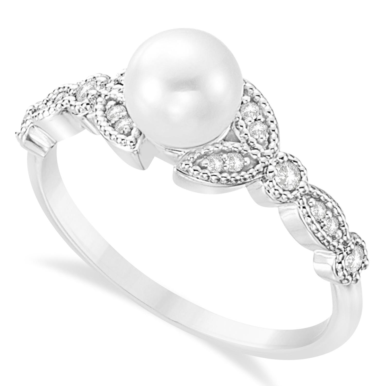 Freshwater Pearl & Diamond Leaf Ring 14k White Gold (6.0-6.5mm)