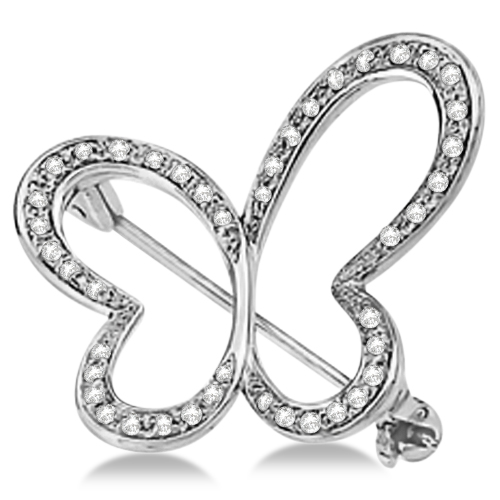 Diamond Butterfly Design Brooch Pin 14K White Gold (0.25ctw)