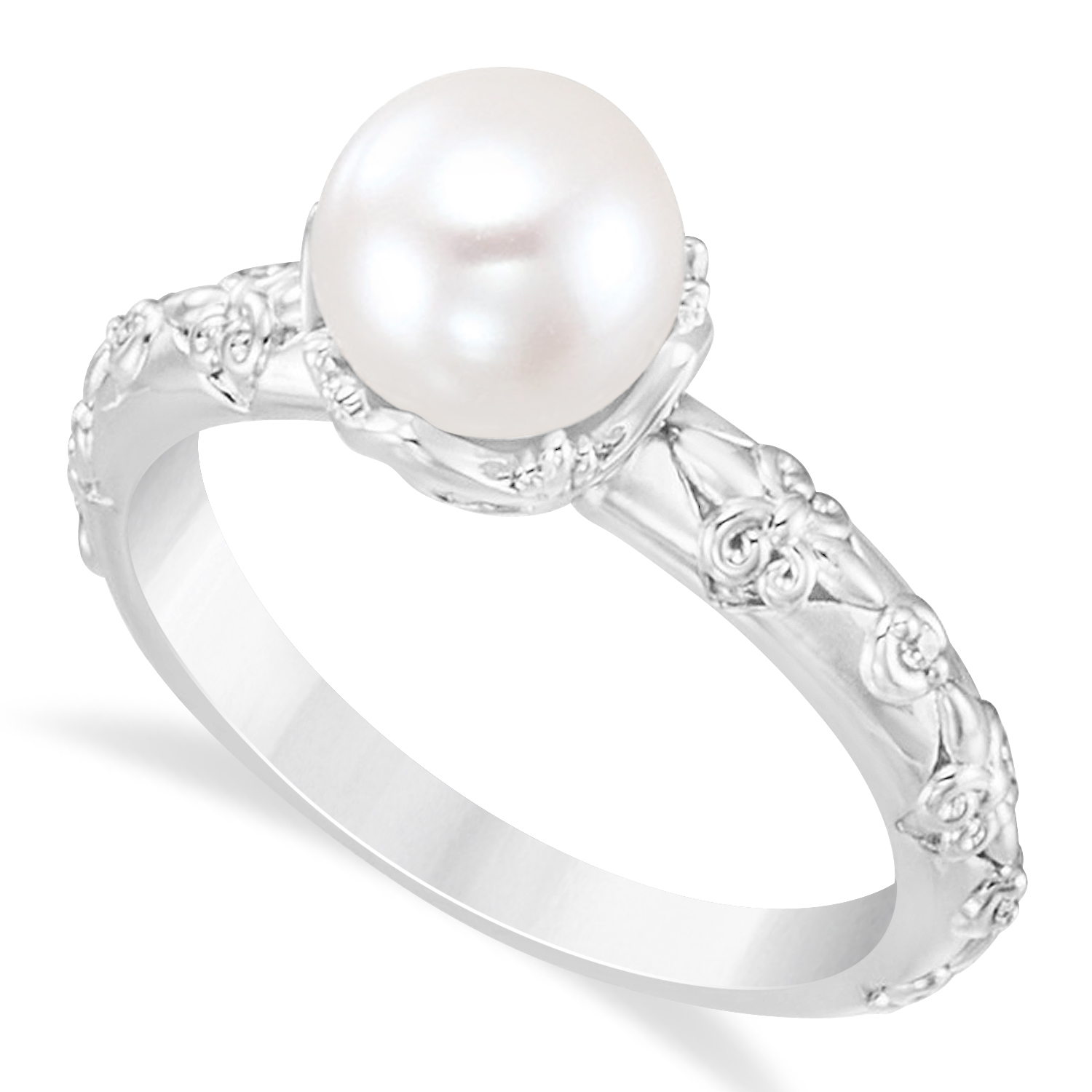 Diamond And Pearl Engagement Rings: Vintage-Inspired Freshwater Pearl & Diamond Ring 14k White