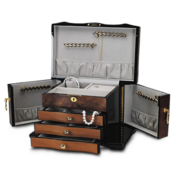 Polished Bubinga Veneer Jewelry Chest for Women w/ Brass Lock & Key