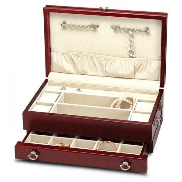 Women's Wooden Cherry Finish Jewelry Box Chest - RE978