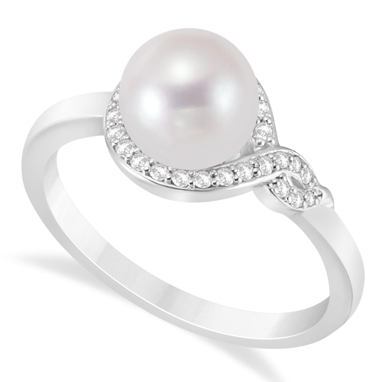 Freshwater Pearl & Diamond Bypass Ring 14k White Gold (7.0-7.5mm)