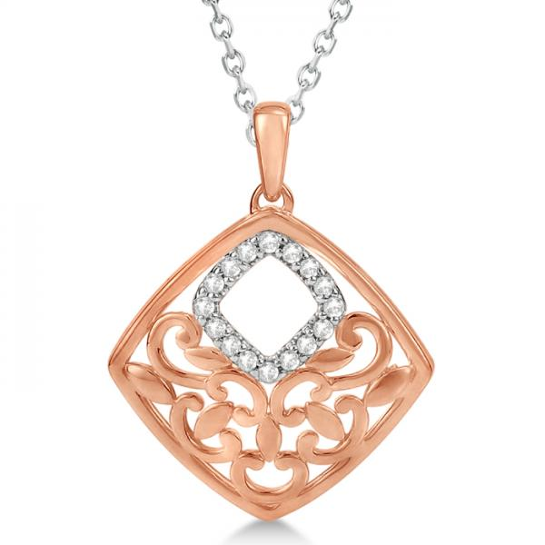 Square Diamond Pendant 14k Rose Gold over Sterling Silver 0.08ctw