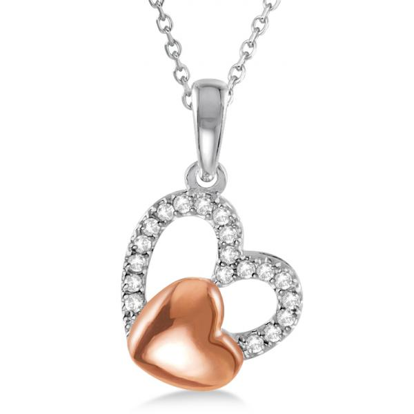 Diamond Puffed Heart Pendant 14k Rose Gold over Sterling Silver 0.15ct