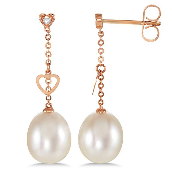 Freshwater Cultured Pearl & Diamond Hanging Earrings 14k Rose Gold 0.02ct