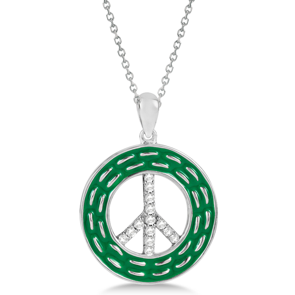 Diamond Accented Peace Symbol Necklace Sterling Silver w/ Enamel
