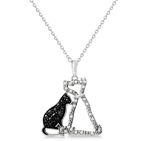 White and Black Diamond Dog & Cat Necklace Sterling Silver 0.26ct