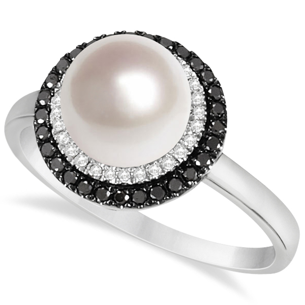 Freshwater Pearl Ring W White Black Diamond Halo 14k Gold 0 25ct
