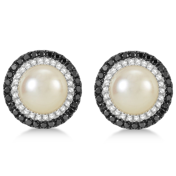 Freshwater Pearl Halo Earrings with Black Diamonds 14K W. Gold 0.50cw