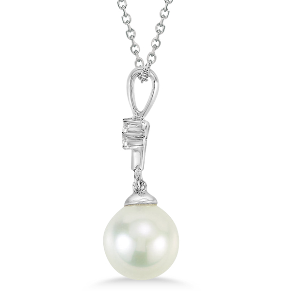 Freshwater Pearl Pendant Drop Necklace with Diamonds 14K White Gold