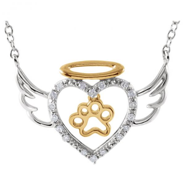 Diamond Angel Heart Paw Pendant in Two Tone Sterling Silver (0.08ct)