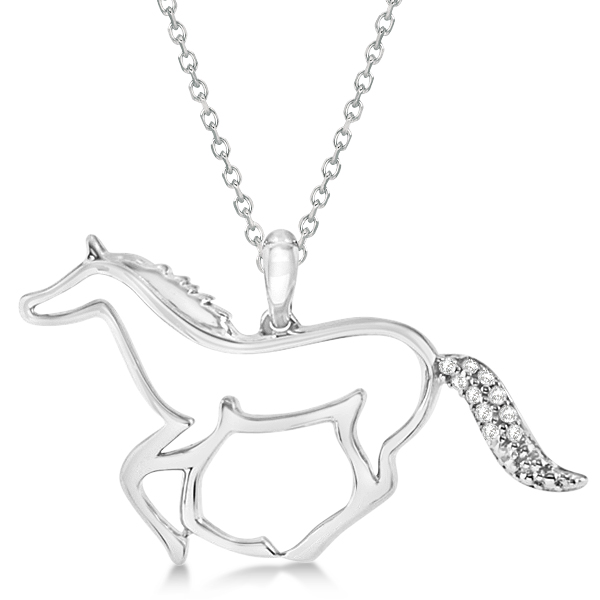 Horse Pendant Necklace with Diamond Accents Sterling Silver 0.04ct