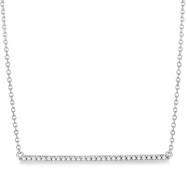 Sideways Bar Diamond Necklace Fashion Pendant 14k White Gold  0.15ct