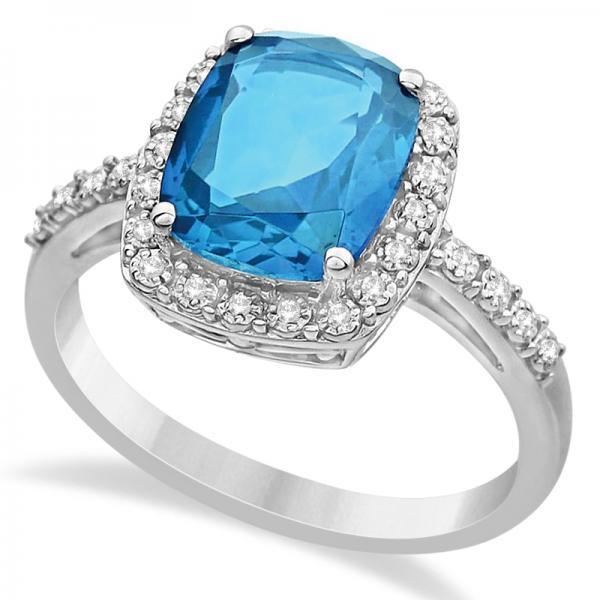 Diamond & Swiss Blue Topaz Halo Ring 14k White Gold (3.57ct)
