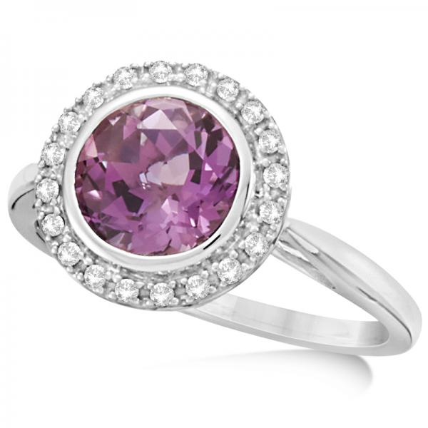 Diamond Halo Amethyst Fashion Ring in 14k White Gold (1.83ct)