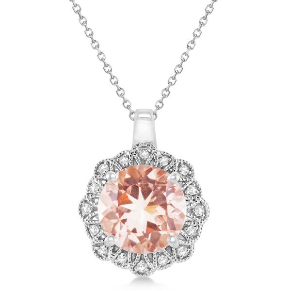 Morganite Pendant Necklace Diamond Accents 14k White Gold (2.78ct)