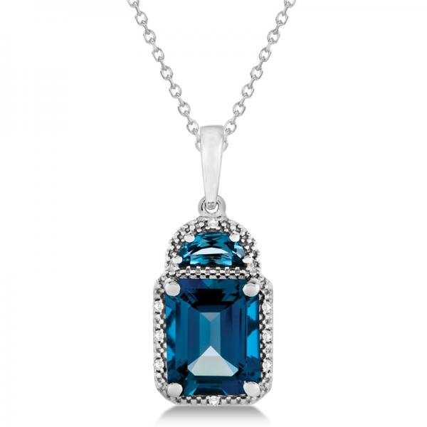 Diamond London Blue Topaz Pendant Necklace in 14k White Gold (4.16ct)